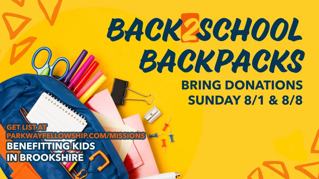 Backpack Donations for Brookshire Police Department 8/1 and 8/8