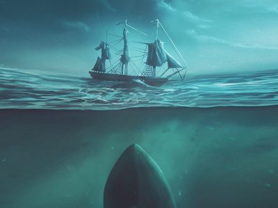 Painting of ocean, whale and ship