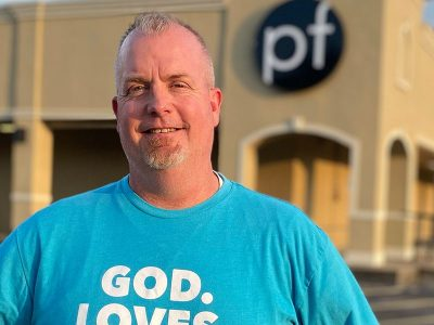 Terry McGuire standing in front of Parkway Fellowship Church in Katy