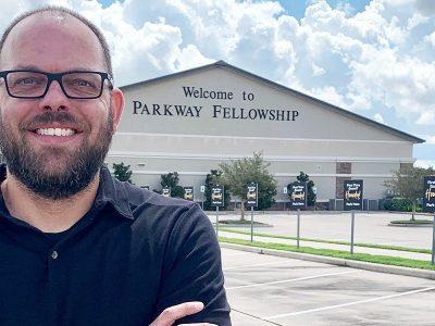 John Alexander in front of Parkway Fellowship